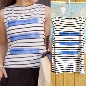 Zara Black White Stripe Blue Sequin Top L